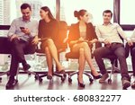 group of business colleagues in ... | Shutterstock . vector #680832277