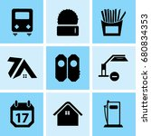 set of 9 mixed icons such as... | Shutterstock .eps vector #680834353