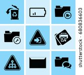 set of 9 web icons such as... | Shutterstock .eps vector #680836603