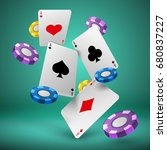 falling playing cards and poker ... | Shutterstock .eps vector #680837227