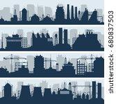 industrial vector skylines.... | Shutterstock .eps vector #680837503
