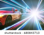 red race car with light effect. | Shutterstock . vector #680843713