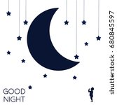 moon and dreaming baby. concept ... | Shutterstock .eps vector #680845597