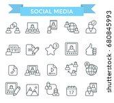 social media icons  thin line... | Shutterstock .eps vector #680845993