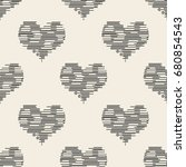seamless monochrome  heart ...   Shutterstock .eps vector #680854543