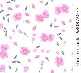 seamless cherry blossom or... | Shutterstock .eps vector #680876077