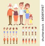 Family characters creation set - grandfather, grandmother, mom, dad, kids. Front, side, back view animated character. Cartoon style, flat vector illustration.  | Shutterstock vector #680893987
