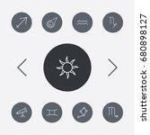set of 9 astronomy outline... | Shutterstock .eps vector #680898127