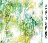 tropical leaves seamless... | Shutterstock . vector #680900143