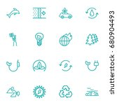 set of 16 ecology outline icons