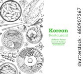 korean food menu restaurant.... | Shutterstock .eps vector #680907367