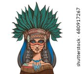 beautiful girl in a headdress... | Shutterstock .eps vector #680917267