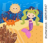 underwater world with mermaid... | Shutterstock .eps vector #680919547