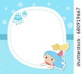 greeting card with cute girl... | Shutterstock .eps vector #680919667