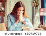 flu. young woman got nose... | Shutterstock . vector #680919733