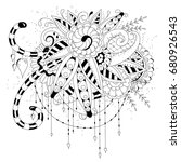 coloring book  page for adult... | Shutterstock .eps vector #680926543