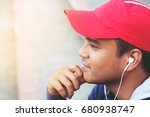 cheerful handsome young man...   Shutterstock . vector #680938747