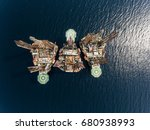 birdseye view on oil and gas... | Shutterstock . vector #680938993
