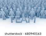 teamwork. large group of stick... | Shutterstock . vector #680940163