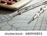 compasses  and calculator over... | Shutterstock . vector #680940853