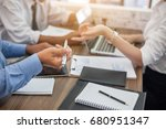 business people meeting at...   Shutterstock . vector #680951347