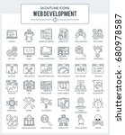 set of modern outline icons for ... | Shutterstock .eps vector #680978587
