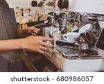 barista prepare coffee working... | Shutterstock . vector #680986057