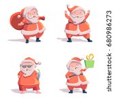 santa claus. set of characters. ... | Shutterstock .eps vector #680986273