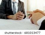 man pointing pen | Shutterstock . vector #681013477
