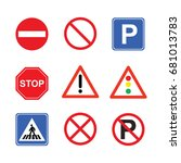 traffic sign collection | Shutterstock .eps vector #681013783