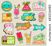set of fashion patches  cute... | Shutterstock .eps vector #681016483