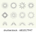 geometric hand drawn sun beams... | Shutterstock .eps vector #681017947
