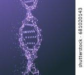 illustration of dna mesh spiral....   Shutterstock . vector #681020143