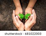 the hand of men and children... | Shutterstock . vector #681022003