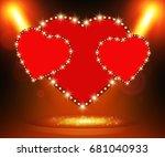 retro heart banner on stage...   Shutterstock .eps vector #681040933
