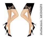 woman wearing high stiletto... | Shutterstock .eps vector #681043693