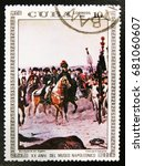 "Small photo of MOSCOW, RUSSIA - JULY 15, 2017: A stamp printed in Cuba shows painting ""Bonaparte in Egypt"" by Edouard Detaille, from the series ""Paintings in the Napoleon Museum"", circa 1981"