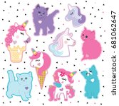 Stock vector sticker patch unicorn cat sticker pin trendy label patch vector illustration decor decoration 681062647