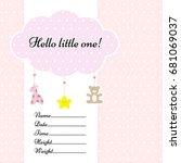 baby arrival announcement card... | Shutterstock .eps vector #681069037