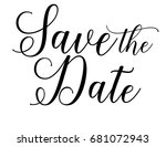 wedding save the date word art... | Shutterstock .eps vector #681072943