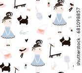 creative kids seamless pattern. ... | Shutterstock .eps vector #681098857