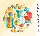 vector flat infancy round... | Shutterstock .eps vector #681099913