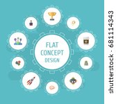 flat icons rocket  championship ... | Shutterstock .eps vector #681114343