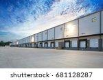 generic white loading docks on... | Shutterstock . vector #681128287