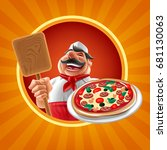 pizza chef banner | Shutterstock .eps vector #681130063