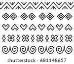 unique decoration of log houses ... | Shutterstock .eps vector #681148657