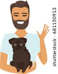 young man holding brown pug on... | Shutterstock .eps vector #681150913