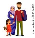 happy muslim family  parents ... | Shutterstock .eps vector #681156433