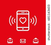 phone rings with a heart icon...   Shutterstock .eps vector #681163603