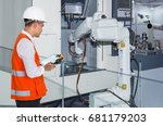 engineer controlling automatic... | Shutterstock . vector #681179203